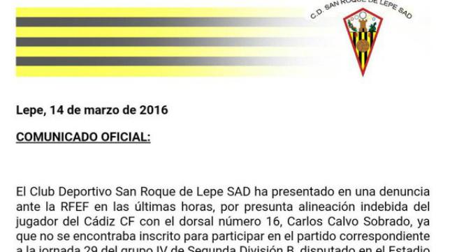 Extracto del comunicado oficial del San Roque de Lepe