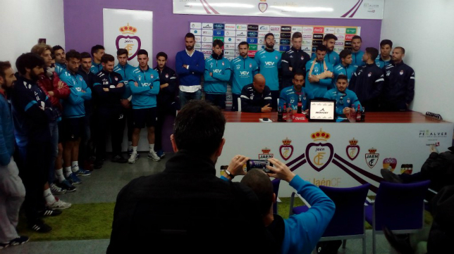 La plantilla del Real Jaén ya compareció ante los medios hace semanas. (Foto: Real Jaén)