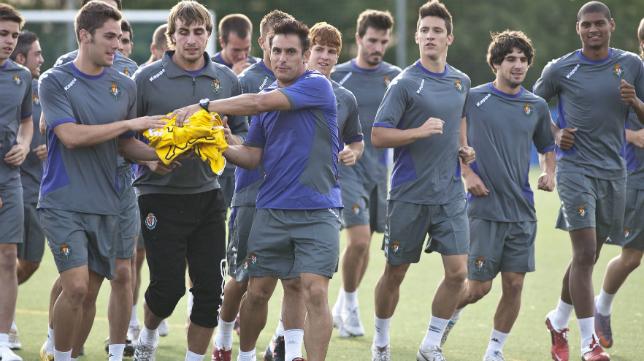 Lolo Plá y Torres Gómez (izquierda) en un entrenamiento del Valladolid B