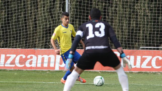 El Cádiz B en un partido de esta temporada