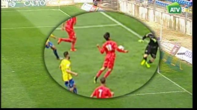 Imagen de televisión del gol del Sevilla Atlético
