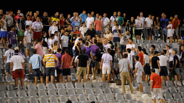 La afición del Real Jaén, en el encuentro de la pasada temporada ante el Cádiz CF.
