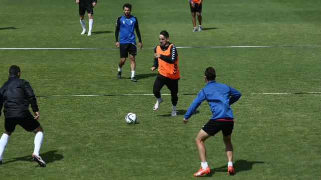 Carlos Calvo, en el entrenamiento de este miércoles.
