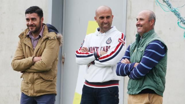 Enrique, junto a Raúl López, en un entrenamiento del Cádiz CF.