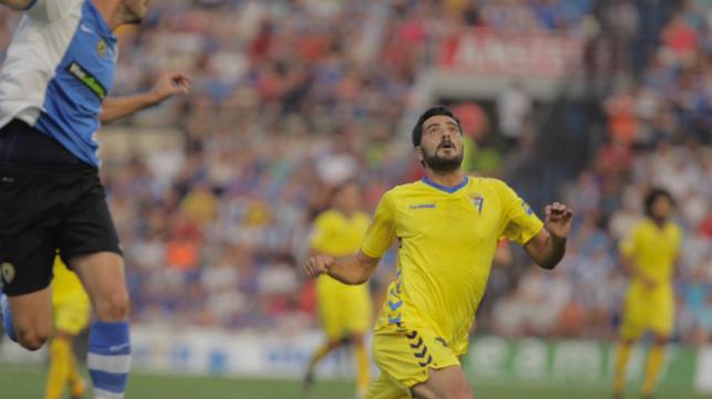 Dani Güiza en el choque ante el Hércules en el Rico Pérez