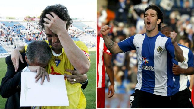 Abraham Paz, con las camisetas del Cádiz CF y el Hércules.