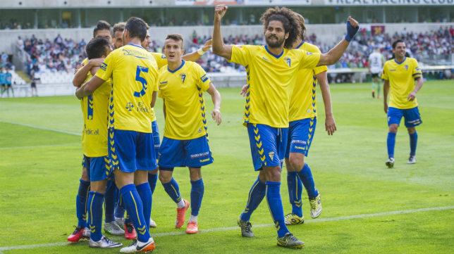 Aridane celebrando la victoria en Santander