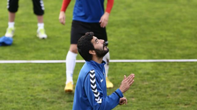 Dani Güiza, en un entrenamiento en El Rosal.