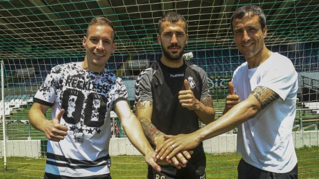 Migue García, Dioni y César Caneda, ahora en las filas del Racing de Santander y con pasado en el Cádiz CF.