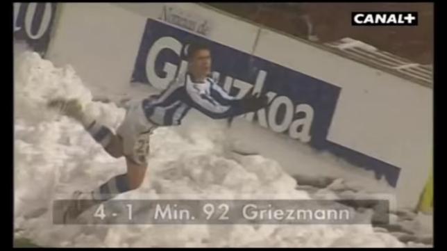 Griezmann celebró de esta forma el gol ante el Cádiz CF.