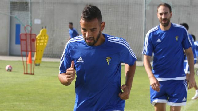 Canario, durante un entrenamiento en El Rosal.
