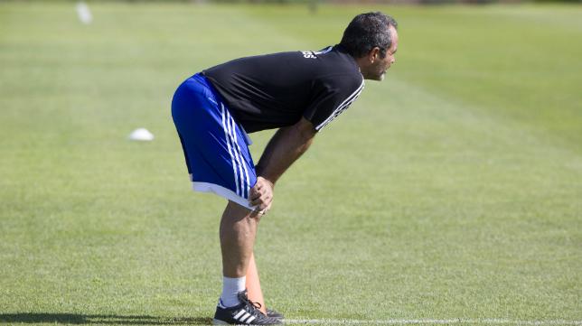 Álvaro Cervera, en el primer entrenamiento el pasado jueves.