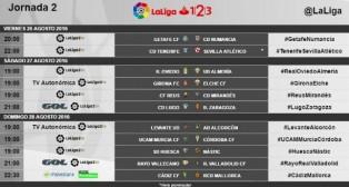 Horarios de la jornada 2 de Segunda División