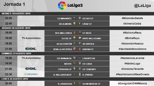 Horarios de los partidos de la primera jornada en Segunda