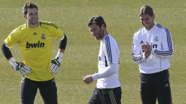 Jesús Fernández en su época en el Real Madrid con Sergio Ramos y Xabi Alonso
