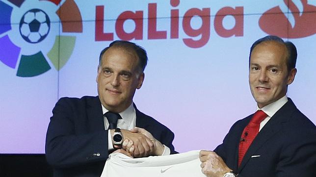 El presidente de LaLiga, Javier Tebas, anunció el acuerdo hoy.