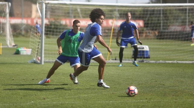 Aridane, en el entrenamiento de hoy.
