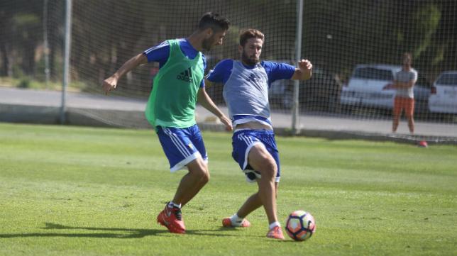 David Sánchez y Fran Machado en un entrenamiento.