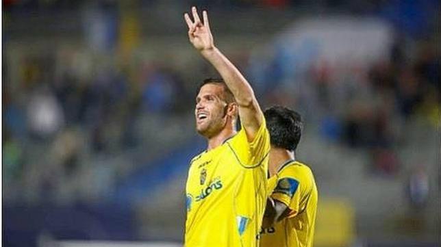 Ortuño en un partido con Las Palmas