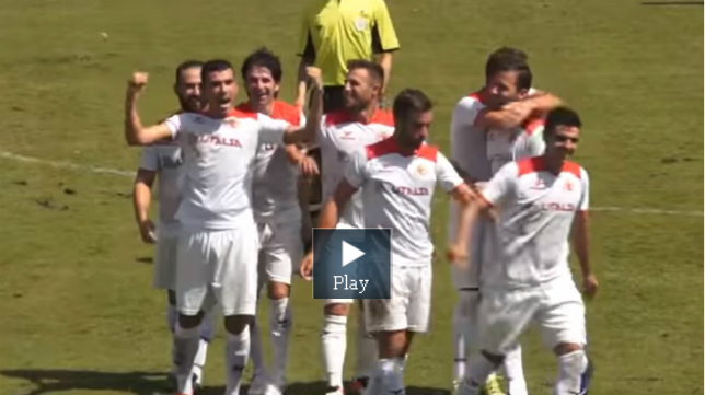 Jose Miguel Caballero celebra el gol ante el PInzón