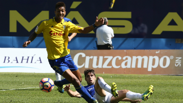 Eddy Silvestre, en el partido ante el Oviedo.