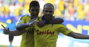 Ortuño celebra uno de sus goles esta temporada.