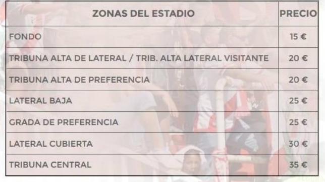 Lista de precios para el partido de este domingo en Vallecas.