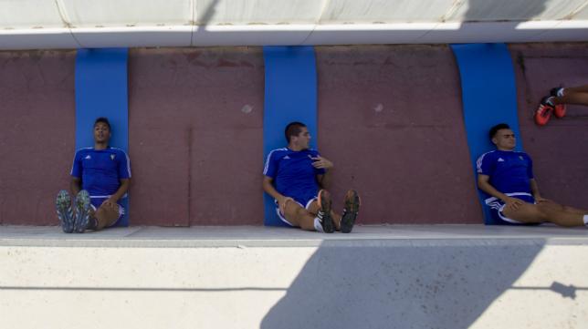 Eddy Silvestre y Garrido en un entrenamiento