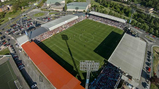 Vista aérea del Anxo Carro, estadio en el que juega sus encuentros el Club Deportivo Lugo