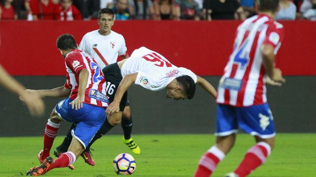 El Girona FC, durante su visita esta temporada al Sánchez Pizjuán para jugar ante el Sevilla Atlético