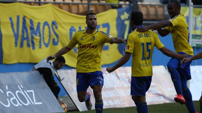 Ortuño celebra el gol de la victoria ante el Huesca