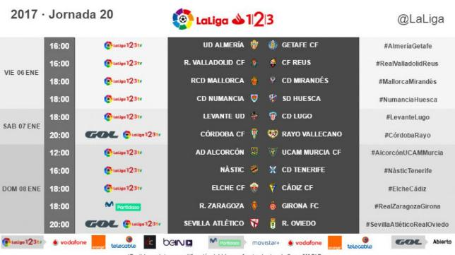Horarios de la jornada 20 en Segunda División.