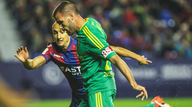 Natxo Insa y Ortuño en el partido de la primera vuelta entre Levante y Cádiz CF.
