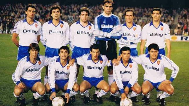 Casuco, Blesa, Juliá, Cedrún, Herrera, y Fraile (arriba). Mejías, Güerri, Señor, Ruben Sosa y Pato Yáñez (abajo).