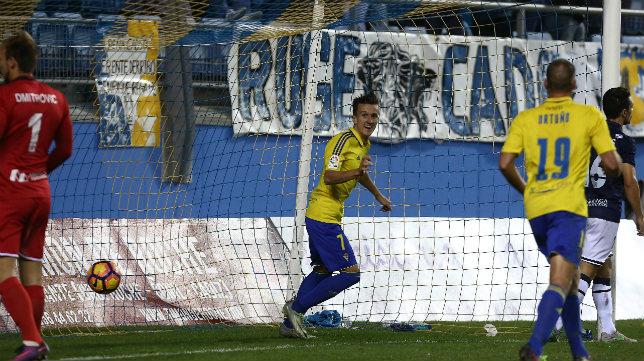 Salvi celebra su gol ante el Alcorcón