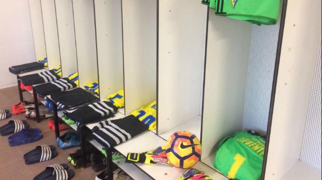 Vestuario del Cádiz CF en el Nou Estadi (CCF)