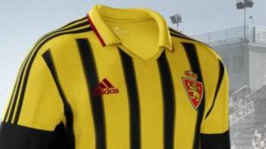 Segunda equipación del Real Zaragoza, que sirve para homenajear al Iberia SC.