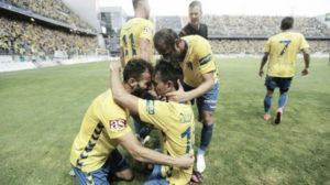 Carlos Calvo celebrando el gol ante el Hércules