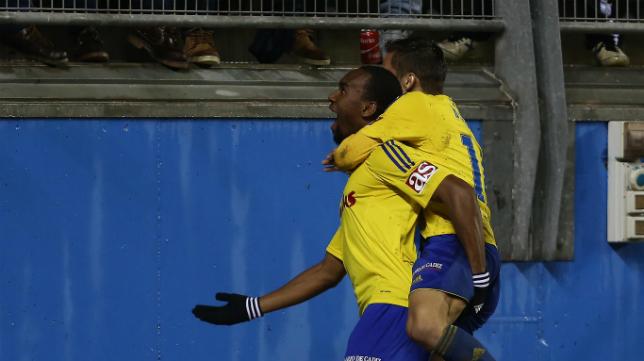 Abdullah celebra su gol ante el Zaragoza.