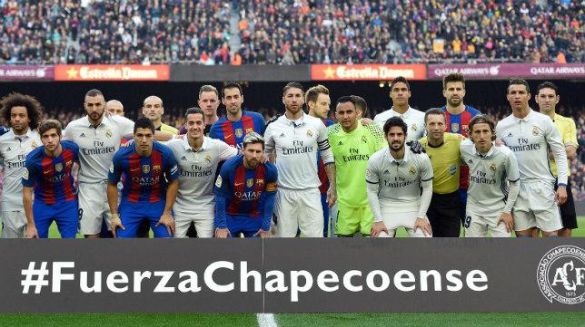 Jugadores del Barça y del Madrid se fotografiaron juntos en memoria del club brasileño.