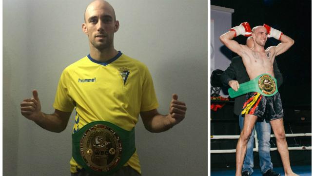 El luchador gaditano y cadista posa con la elástica amarilla y el cinturón de campeón.