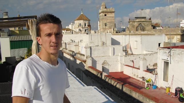 Salvi, en la terraza del hotel Las Cortes.
