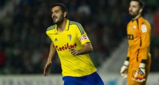 Dani Güiza en el partido que el Cádiz CF jugó en Elche