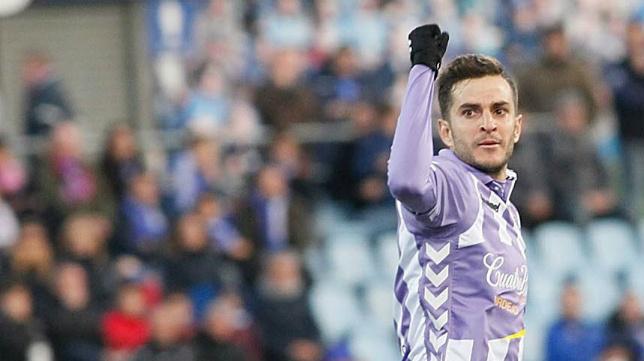 Juan Villar celebra un gol con el Valladolid.
