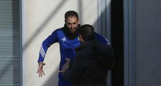 Juanjo, este mismo jueves, dialoga con Cordero en el entrenamiento.