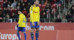 Ortuño exhausto en el partido ante el Mallorca