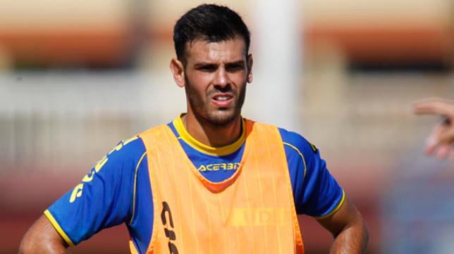 Tyronne, en un entrenamiento con Las Palmas.