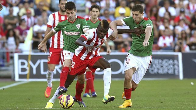 La UD Almería, en la imagen ante el Athletic, ha militado durante dos etapas en Primera.