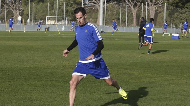 Rubén Cruz, en el entrenamiento.