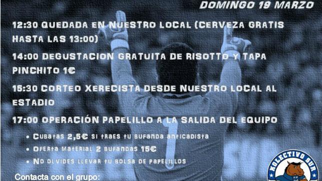 Cartel anunciador de la quedada de este domingo de la afición del Xerez DFC.